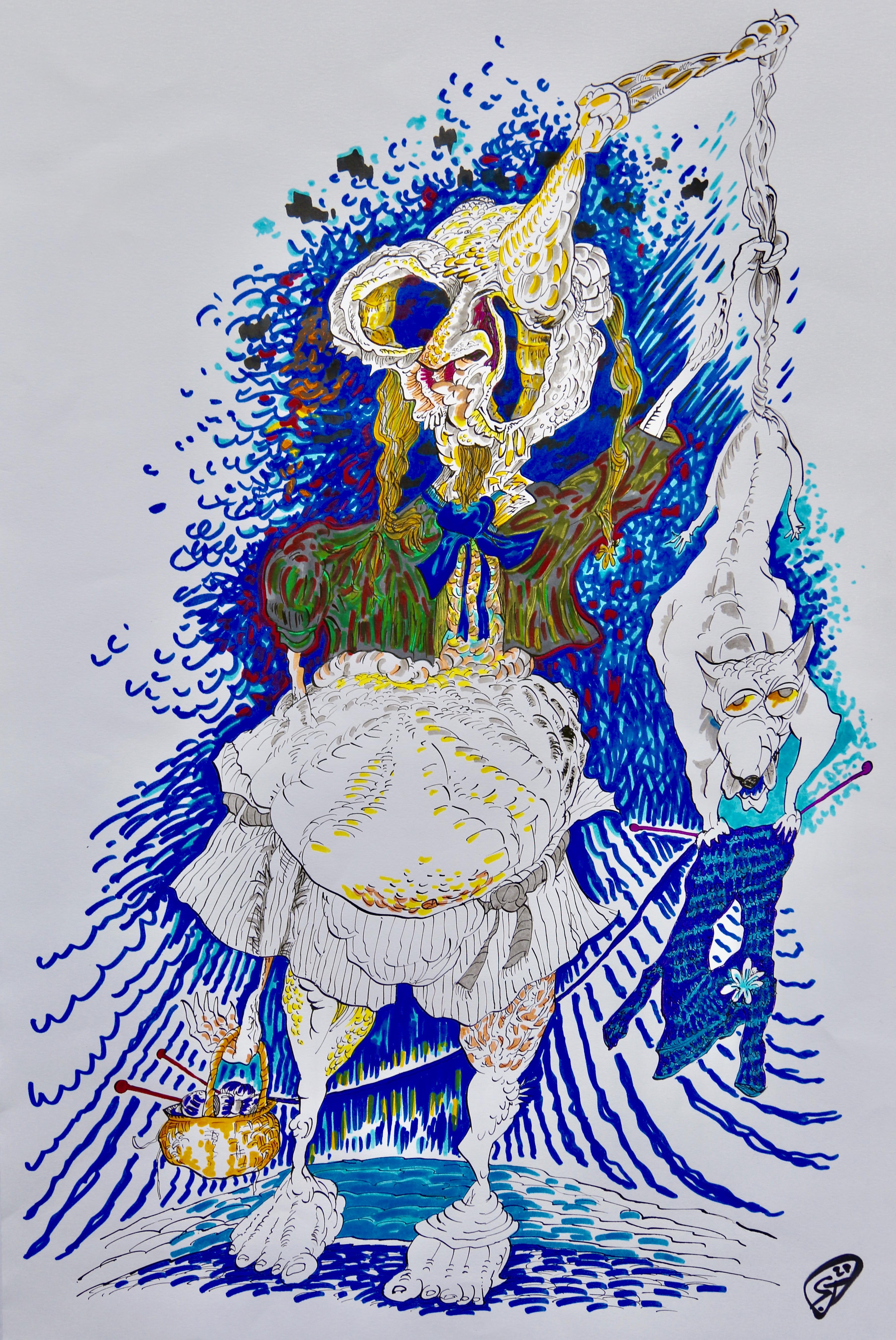 Le tricot - Dessin (technique mixte) 40x50 cm