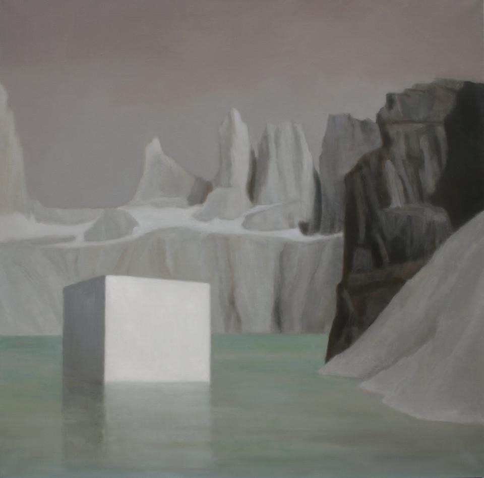 Paysage geometrique 2 (100 x 100 cm, huile sur toile) Marion Tivital
